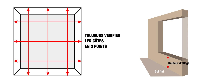 Prendre les dimensions de la fenêtre en 3 points et renseigner hauteur d'allège